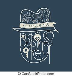 レタリング, キー, 成功, アイコン, ビジネス 概念