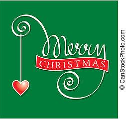 レタリング, クリスマス, 陽気, 手