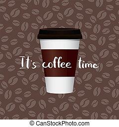 レタリング, コーヒー, ベクトル, カップ, イラスト, ペーパー, 豆, 背景