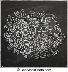 レタリング, コーヒー, 黒板, 手