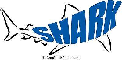 レタリング, サメ, イラスト