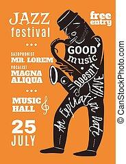 レタリング, シルエット, 祝祭, ポスター, ジャズ 音楽