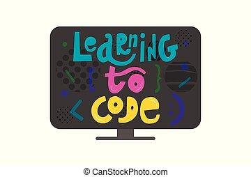 レタリング, スタイル, コード, モニター, カラフルである, 平ら, -, コーディング, 手, 概念, デザイン, 勉強, 引かれる, elements., 子供