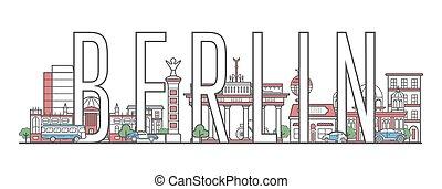 レタリング, スタイル, ベルリン, 線である, 旅行