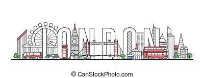 レタリング, スタイル, ロンドン, 線である, 旅行