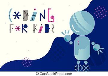 レタリング, スタイル, 概念, 平ら, 抽象的, コーディング, ロボット, 魅了, デザイン, 背景, 子供