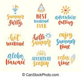 レタリング, セット, かわいい, 季節, 夏, ブラシ