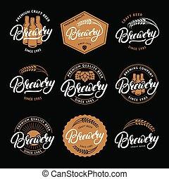 レタリング, セット, 紋章, company., 醸造, 書かれた, 家, 手, ビール, ラベル, バッジ, 醸造所, バー, ロゴ
