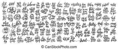 レタリング, セット, mega, 書かれている手, 100
