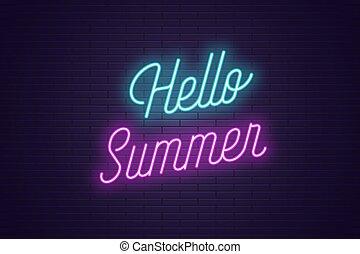 レタリング, テキスト, ネオン, 白熱, summer., こんにちは