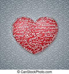 レタリング, バレンタイン, カード, 心