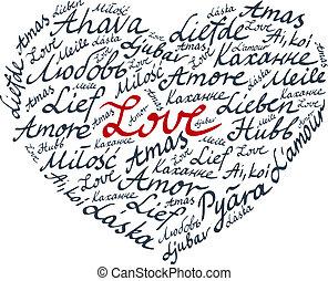 レタリング, バレンタイン, 心, カード
