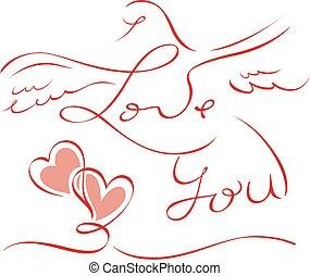 レタリング, バレンタイン, 愛, カード, you.