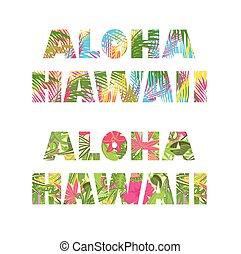 レタリング, プリント, ハワイ, aloha, tシャツ, 花