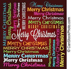 レタリング, ベクトル, クリスマス, 陽気