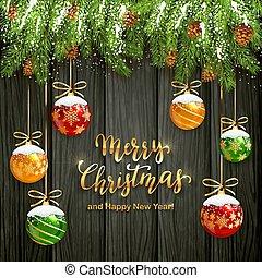 レタリング, ボール, 木製である, 雪, 黒い背景, クリスマス