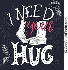 レタリング, 内部, 抱き合う, 家, 壁, あなたの, 図画, brunches., 句, デザイン, ベクトル, 必要性, 装飾, -, 手, カード, 抱擁, 芸術, ポスター, プリント, 挨拶, ∥あるいは∥, 恋人