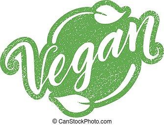 レタリング, 切手, 隔離された, vegan, 手, 引かれる, 白