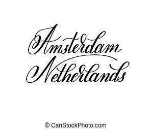 レタリング, 名前, neth, -, 手, 資本, アムステルダム, ヨーロッパ