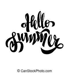 レタリング, 夏, 隔離された, 黒, ブラシ, 手書き, こんにちは