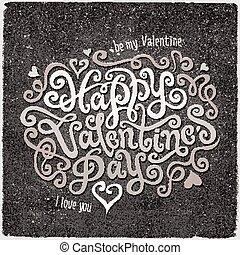 レタリング, 幸せ, 手, 日, バレンタイン