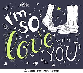 レタリング, 愛, ロマンチック, ポスター, 恋人, -, 抱き合う, 手, ベクトル, そう, 引用, 引かれる, あなた, 手書き