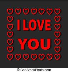 レタリング, 愛, 挨拶, イラスト, ベクトル, hearts., カード, 背景, typographical, あなた, 赤, 株