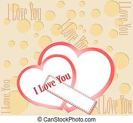 レタリング, 愛, you., バレンタイン, ベクトル, カード