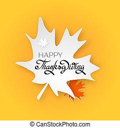 レタリング, 感謝祭, 挨拶, 手, 日, カード, 幸せ