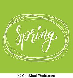 レタリング, 手書き, 緑, バックグラウンド。, 春