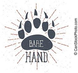 レタリング, 手。, 熊, ベクトル, 裸, 足跡, claw.