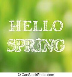 レタリング, 春, 手, 背景, ぼんやりさせられた, こんにちは