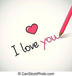 レタリング, 書かれた, 愛, あなた, 手