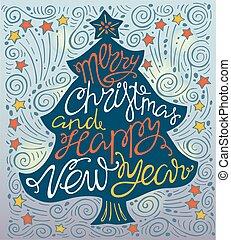 レタリング, 木。, 年, 形, 陽気, handdrawn, 新しい, クリスマス, 幸せ