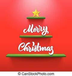 レタリング, 棚, 形づくられた, 木, クリスマスカード