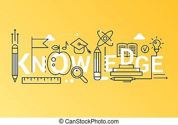 レタリング, 概念, 単語, 知識, 平ら, 学校, 大学, banner., ストローク, 科学, typography., education., 2019, オンラインで, 最新流行である, アイコン, 線, 構成, アウトライン
