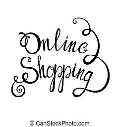 レタリング, 概念, 買い物, デザイン, 背景, オンラインで, あなたの