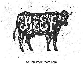 レタリング, 牛肉, silhouette.