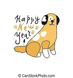 レタリング, 犬, 挨拶, 年, 新しい, カード
