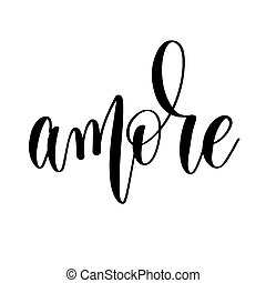 レタリング, 碑文, amore, -, 手, 黒, 結婚式, 白
