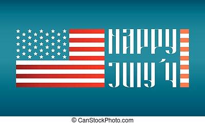 レタリング, 私達, 伝統的である, 旗, 4, 7月, 幸せ