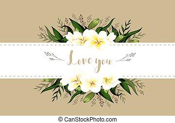 レタリング, 花束, 招待, 葉書, plumeria, テンプレート, 結婚式, 花, カード