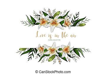 レタリング, 花束, 結婚式の招待, 花, ユリ, カード