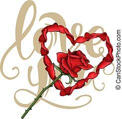 レタリング, 花, 愛 中心, 葉書, バラ, バレンタイン, 花弁, テンプレート, 日, 赤