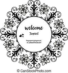 レタリング, 花, wellcome, フレーム, イラスト, トロピカル, ベクトル, デザイン, 図画