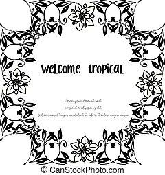 レタリング, 花, wellcome, フレーム, イラスト, トロピカル, 優雅である, ベクトル, 様々,...