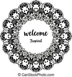 レタリング, 花, wellcome, 春, フレーム, イラスト, トロピカル, ベクトル, デザイン,...