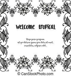 レタリング, 花, wellcome, 春, フレーム, イラスト, トロピカル, ベクトル