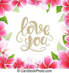 レタリング, 葉書, フレーム, 招待, plumeria, テンプレート, 結婚式, 花, カード