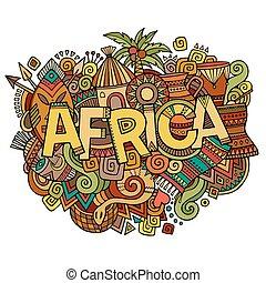レタリング, 要素, アフリカ, 手, 背景, doodles